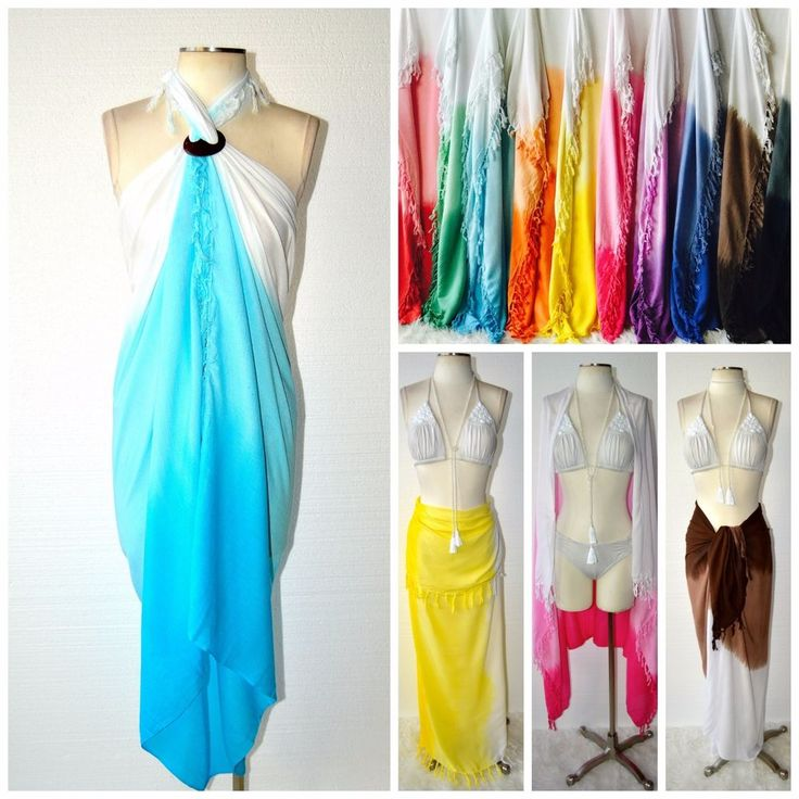 BEACH GYPSY Boho Ombre Dip Dyed Fringe Sarong Wrap Pareo Cover Up 10 Colors XL #ByTheSea #SarongWrapPareoScarf #SummerBeach