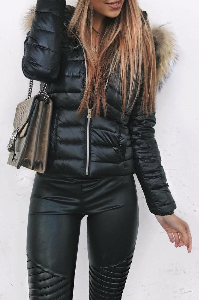 #fall #outfits Puff Jacket // Leather Pants // Beannie