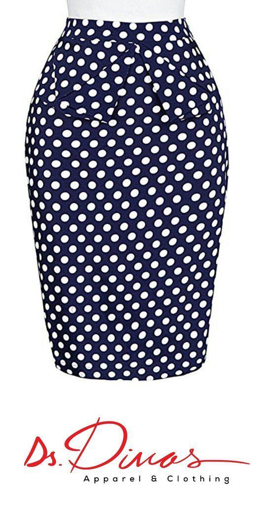 e4e7be29f4ec Diva's Vintage Polka dot Pencil Skirt   Fashion   Pinterest