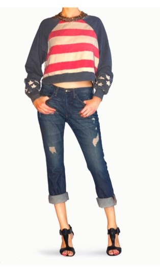 Stars And Stripes Patchwork Long Sleeve Sweat