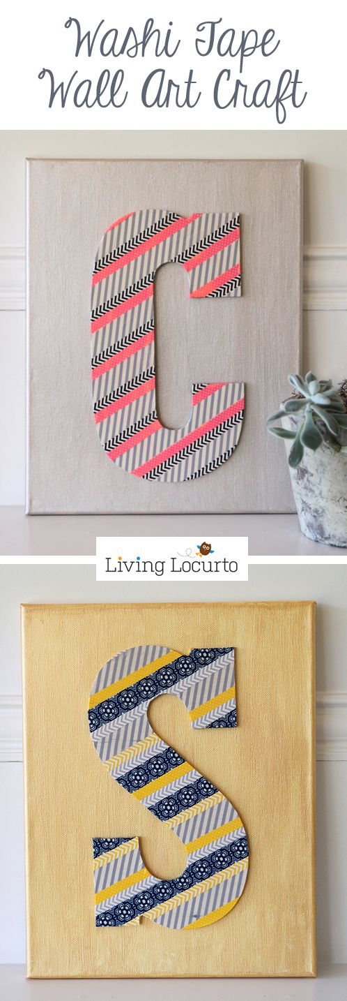 How to make Washi Tape Wall Art. Easy craft idea by Amy at LivingLocurto.com #RAOKDIY