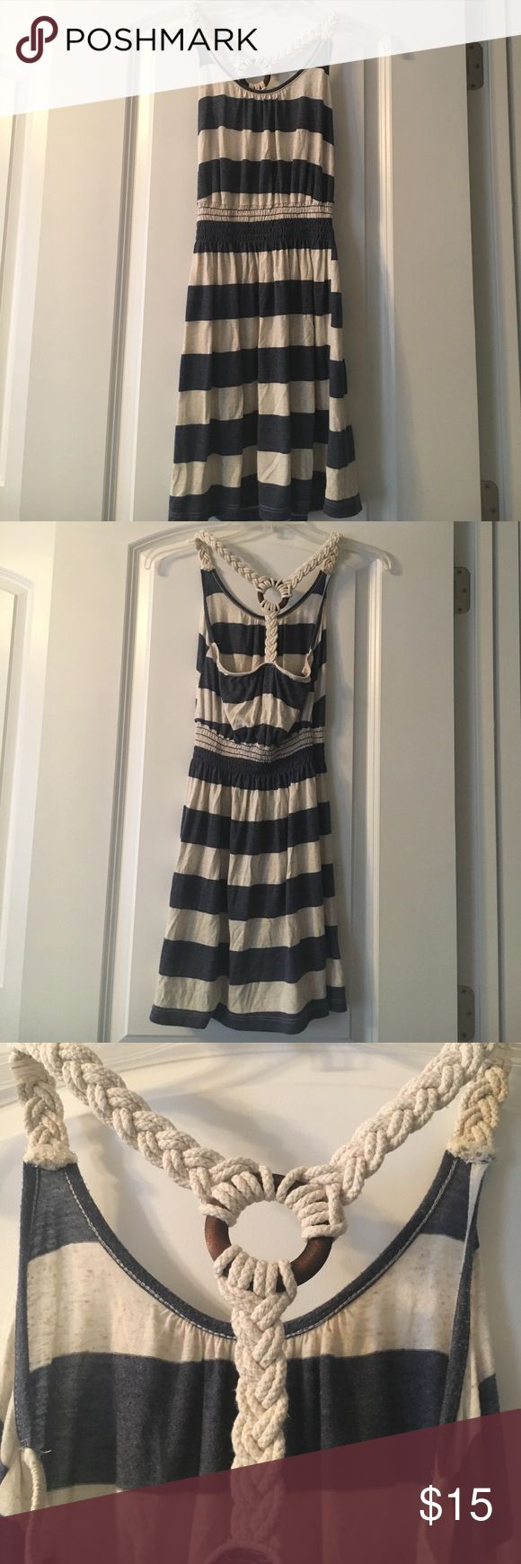 Ocean Drive Nautical Top Ocean Drive top is long or can be styled as a short dress. Nautical racerback. Stripe colors are denim blue and oatmeal. Hand wash in cold water. In excellent condition! Ocean Drive Tops