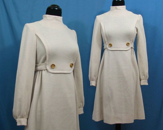 Empire Waist Dress ALAMOR Ivory double knit Small 1960s