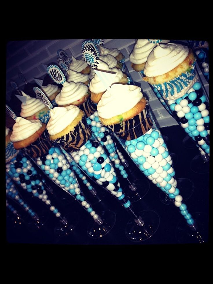 Champagne flute cupcakes with Sixlets, boy baby shower party favor/dessert all in one!