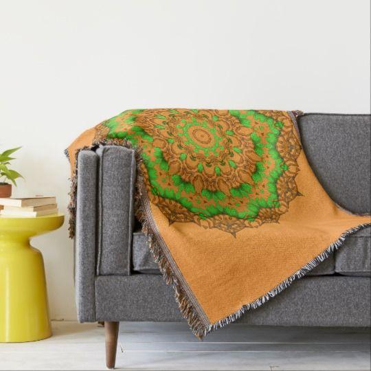 3D Art Mandala Throw Blanket by www.zazzle.com/htgraphicdesigner* #zazzle #throw #blanket #orange #gift #giftidea #abstract #mandala #kaleidoscope #homedecor #mothersday