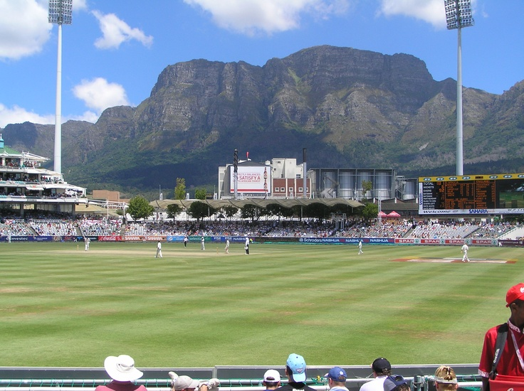 Newlands Cricket Ground in Cape Town, South Africa. There is no more naturally attractive Cricket venue in the world.