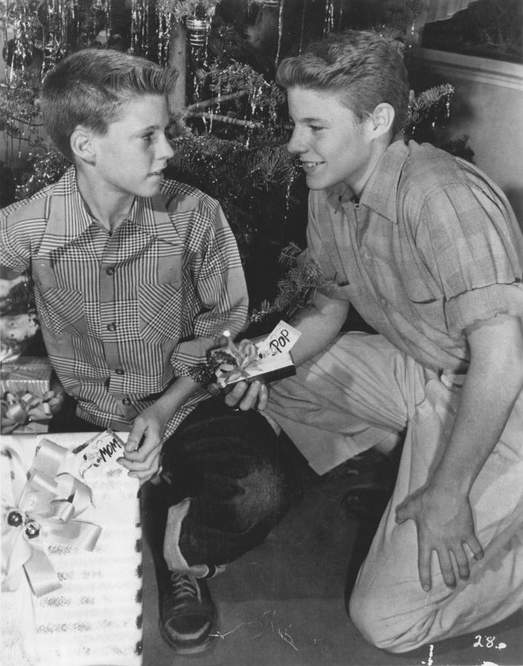 Publicity photo of American child actors, (L–R) Ricky Nelson and David Nelson promoting their roles on the ABC television series The Adventures of Ozzie and Harriet, circa 1952.