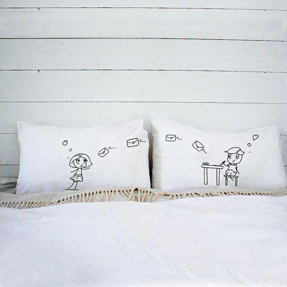 Designer Couple pillowcase Love pillow for couples (Set of 2) Unique\u2026