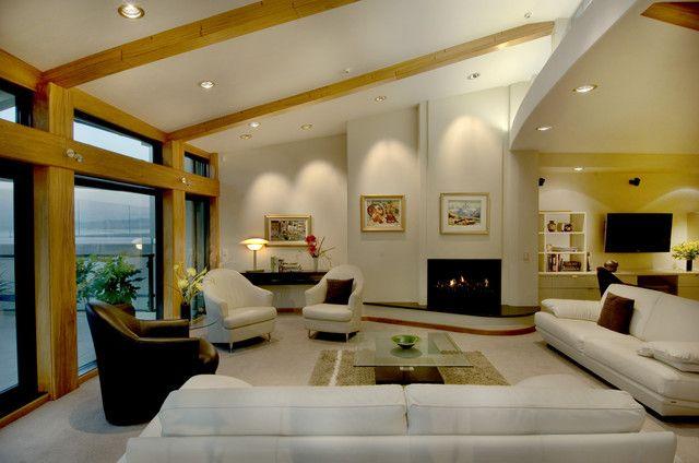 Living Room Decorating in Contemporary Style Using Rug, Coffee Table & Door -  Flower Arrangement,  Picture,  Condominium,  John Veltri Photographer &  Vault