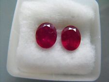 FAVOLOSI RUBINI NATURALI 7X9 PAIR RUBY NATURAL CT 4.95 ORECCHINI EARRINGS COPPIA