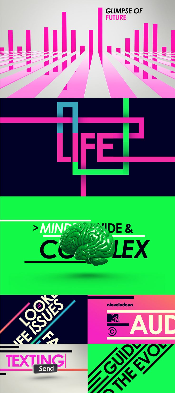 "this is bit colourful graphic sequence design. not sure what it is about, the design use simple strip and fonts connect with the strip to showing the continuity for each sequence design. the colour mainly use fluorescence color very bright and bold. in the third sequence also use the metaphor graphic ""green brain"" to communicate with the concept idea."