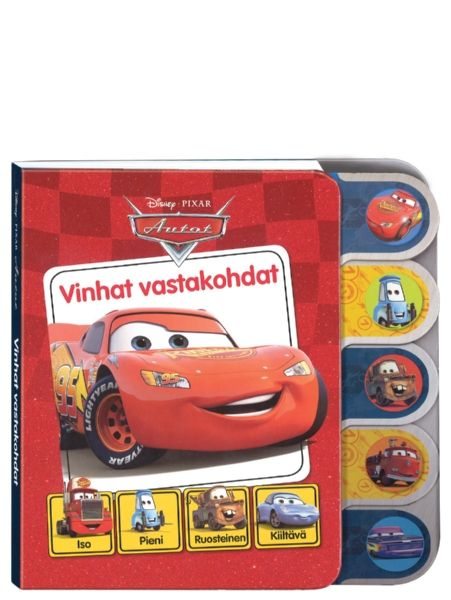 Sähäkästi kuvitetusta Vinhat vastakohdat -kirjasta opit hauskalla tavalla vastakohtia ja tutustut samalla Autojen iloiseen maailmaan. Tukeva pahvikirja kestää ahkeraakin lukemista, ja siinä on näppärät, muotoillut sivut, joita pienikin saa helposti itse käänneltyä.