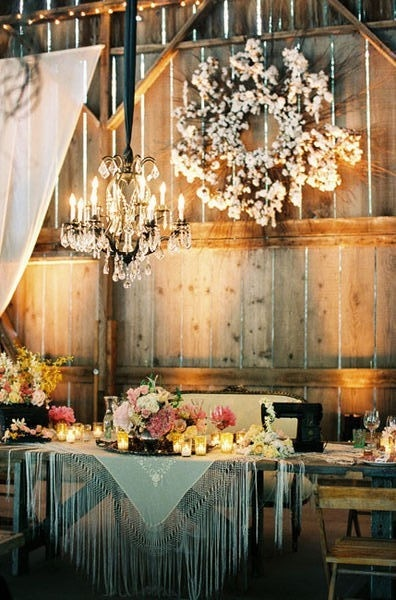 Fringe linens #tablescape   Lilac and Grey