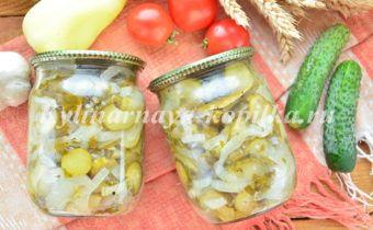 Салат из огурцов на зиму с луком и растительным маслом