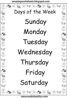 Days of the Week Worksheets | Englisch, Grundschule, Schule