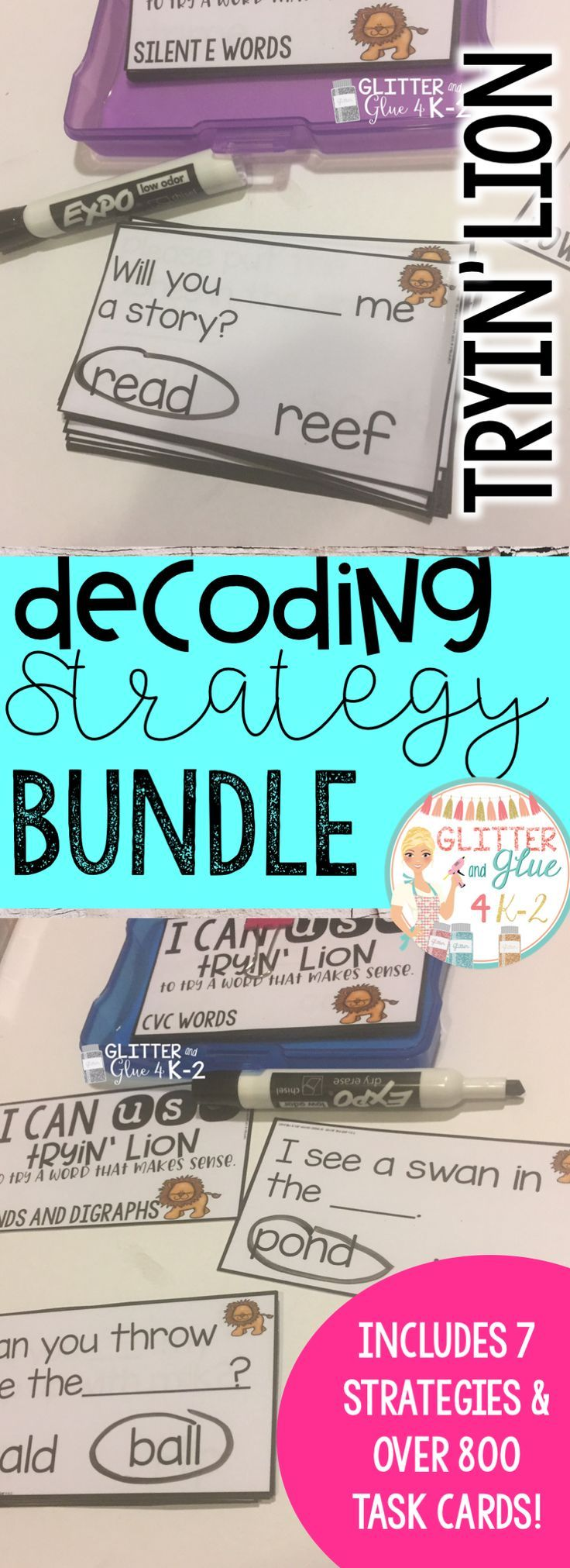 A great resource to teach students to decode unfamiliar words! It's a great warm up for guided reading! Includes seven decoding strategies and posters. Over 800 task cards are included. Keywords: beanie baby decoding strategies, phonics, word work, kindergarten, first grade, second grade, reading, reading instruction, guided reading, task cards, intervention, reading intervention, craft boxes, task boxes