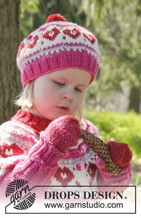Warmhearted Hat for the kids by DROPS Design. Free knitting pattern