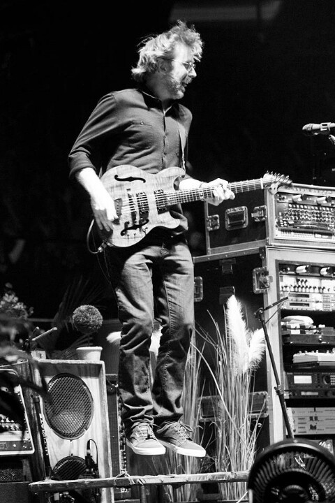 Trey jamming while jumping on the iconic trampolines Phish 2012
