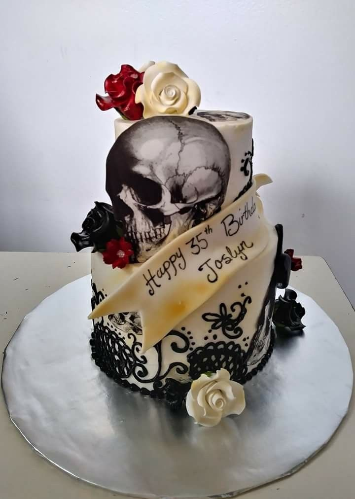 Incredible Skull And Roses Birthday Cake With Images Cupcake Birthday Funny Birthday Cards Online Eattedamsfinfo