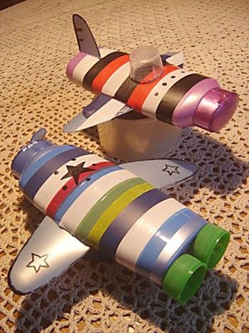 Recycled Shampoo Bottles into fantastic planes/rocket ships - Use a second bottle to cut out wings, fins, props for the plane, and assorted craft/electric/duct tape for the lovely striping