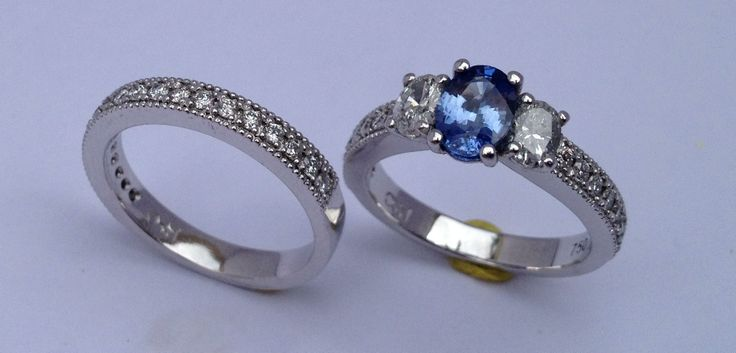 Beautiful custom made engagement ring and wedding band I made for a very special client :)