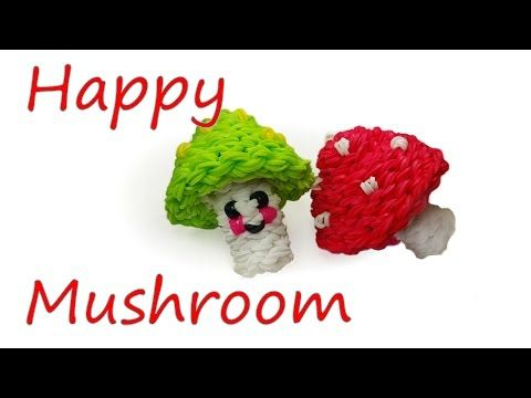 Happy Mushroom Tutorial by feelinspiffy (Rainbow Loom) - YouTube. So cute!