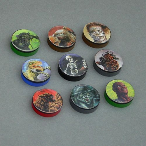 "Monster Tokens made with Alea Tools 1"" Miniature Conversion Circles, 1"" flat back epoxy stickers, and extra RPG cards."