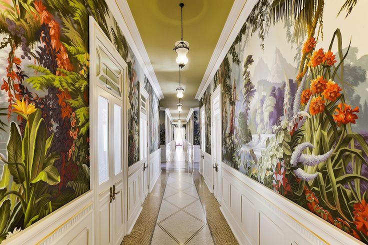 L'Éden' design in Paradiso colourway on scenic paper. Vidago Palace Hotel, Portugal.
