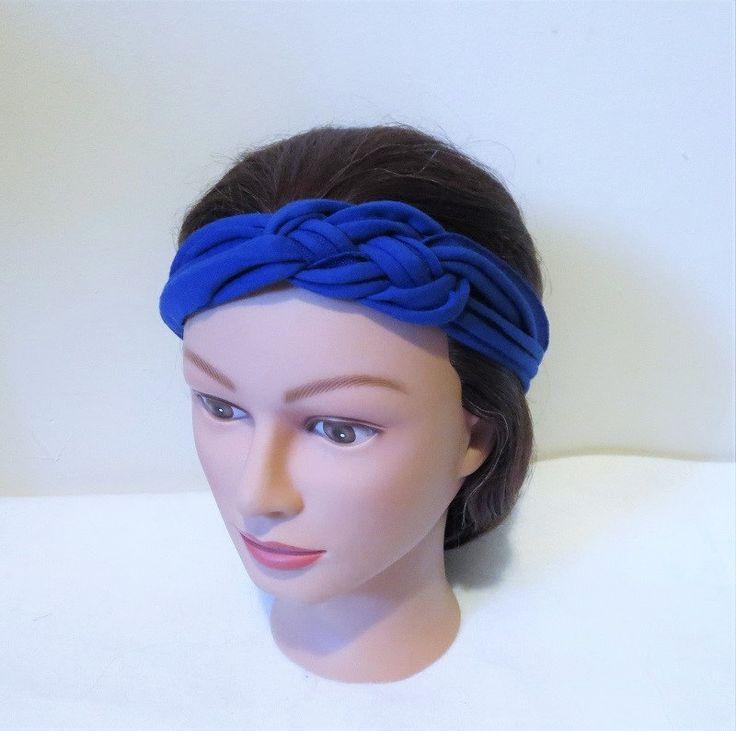 Blue Sailor knot Headband, Knotted Headband, Jersey Fabric Hair Band, multi strand headbands. Only 2 Made! by TiStephani on Etsy