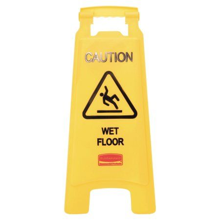 Rubbermaid Commercial Caution Wet Floor Floor Sign, Plastic, 11 x 1 1/2 x 26, Bright Yellow