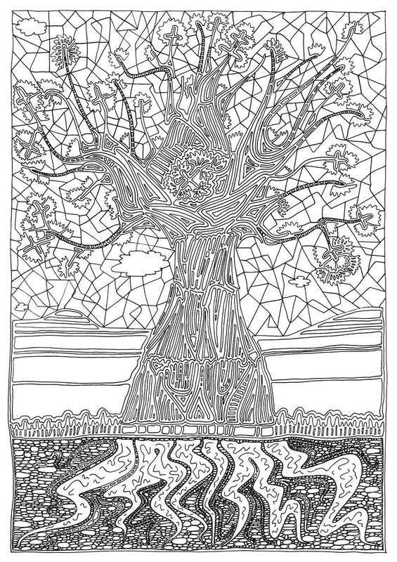 Baobab | Conteu Magazine  | illustration | tree | colouring in | baobab