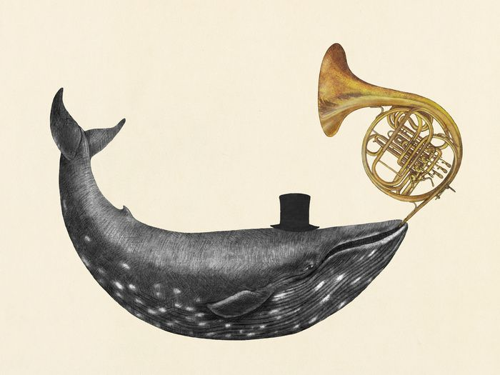 The top hat. The horn. Seriously. Fantastic. :: Whale Song Art Print by Terry Fan