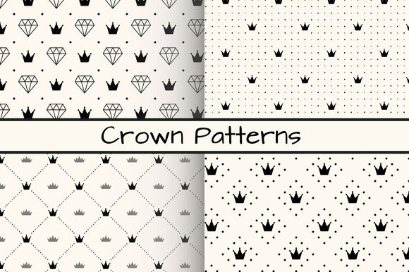 Check out 4 Monochrome Crown Patterns by Svetolk on Creative Market