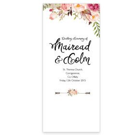 Flowering affection wedding ceremony pamphlet