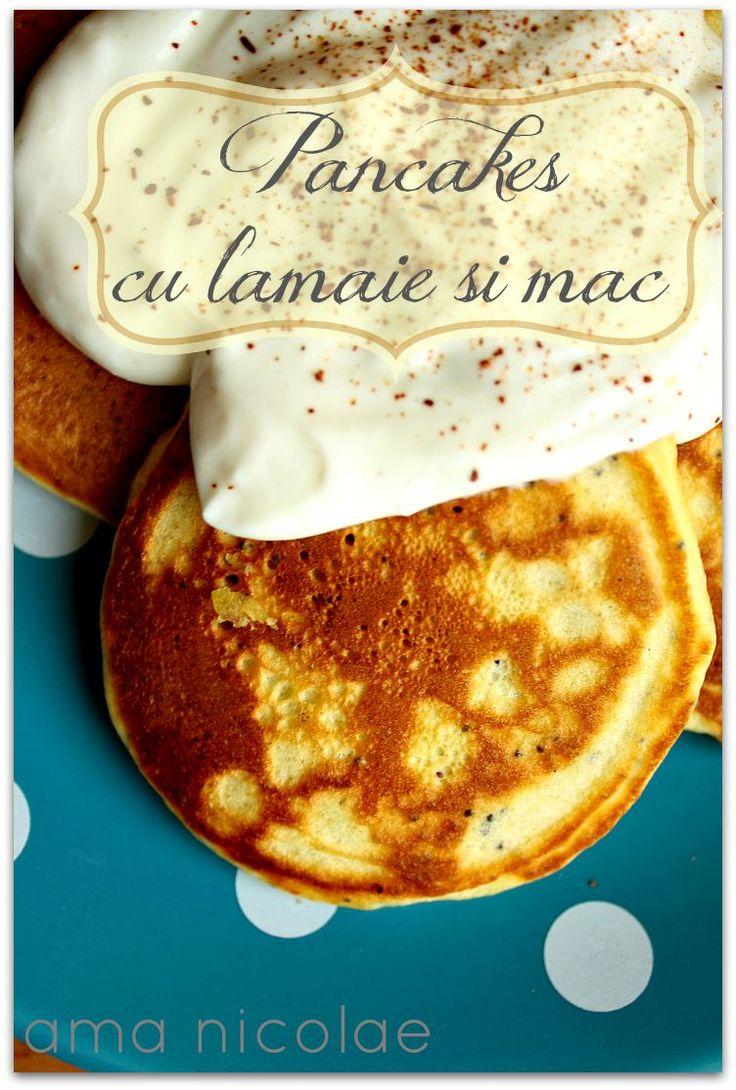Pancakes deliciosi, aromati cu lamaie si mac. Serviti cu o mascarpone si vanilie.