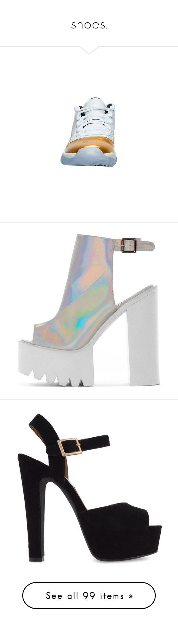 """""""shoes."""" by letsgetl0st ❤ liked on Polyvore featuring shoes, sandals, heels, grey, holographic sandals, silver heeled sandals, grey heeled shoes, silver slingbacks, silver shoes and zapatos"""