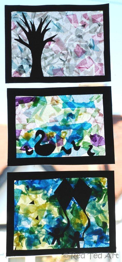 K: tissue paper collages/suncatchers  collage tissue - students cut out black paper silhouette