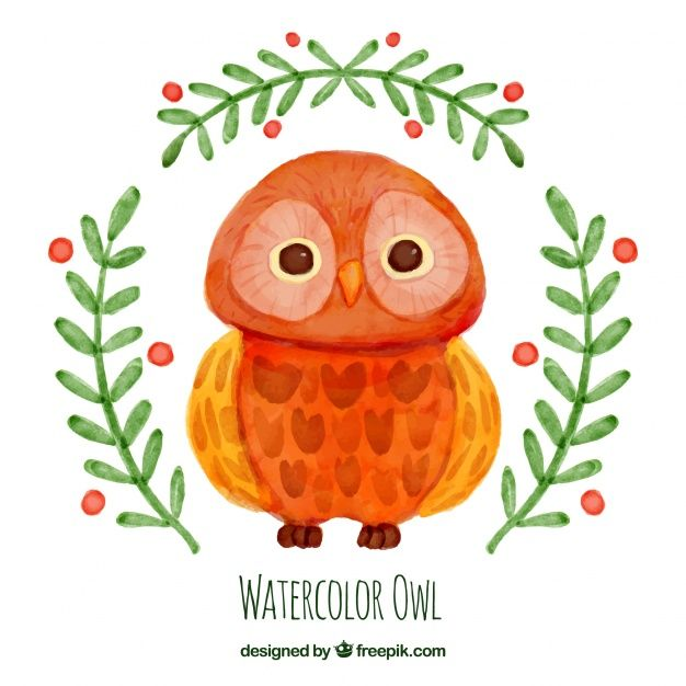 Watercolor owl with branches Free Vector