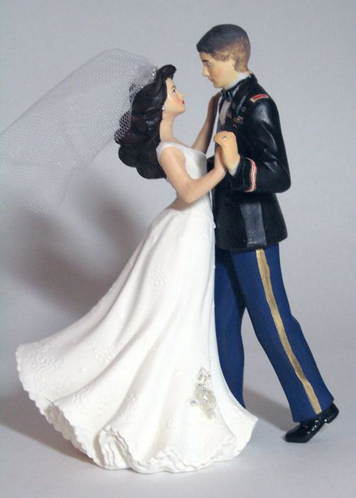 Cake topper, customized to branch and personal complexion (if you're crafty though it may be better to buy the original Wilton figurine and paint it yourself). Gotta love the rendition of a high and tight though!