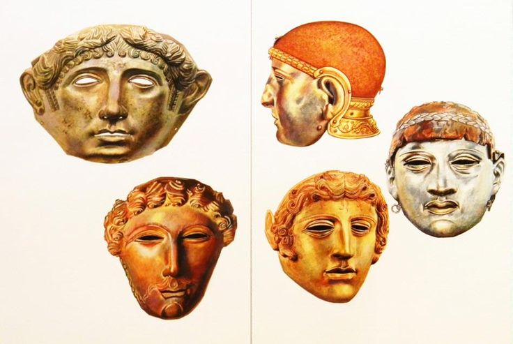 An original gouache painting by illustrator, Alexander Valdman, depicting five ancient Roman cavalry parade masks from various collections.