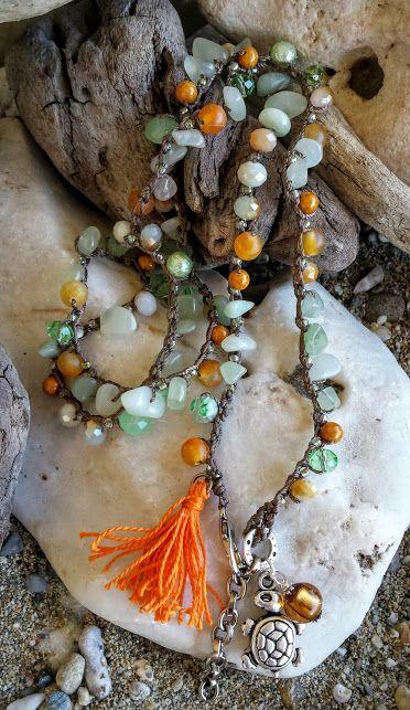 Long Boho Crochet Necklace & Five Wrap Crochet Bracelet, Bohemian Beach Jewelry,Trendy, Beaded Jewelry,Tassel Necklace, Turtle Charm,Orange Agate Gemstone , Chip Jade Gemstone Beads