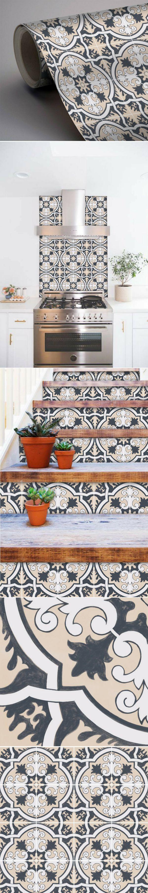 Du carrelage adh sif imitation carreaux de ciment pour relooker les murs ou les sols partout - Carreaux adhesifs cuisine ...