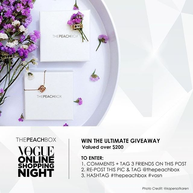 GET READY TO INDULGE!! To celebrate ThePeachBox's participation in the Vogue Online Shopping Night (#VOSN), we're excited to be GIVING AWAY 1 lucky person the Ultimate Giveaway Pack valued over AUD$200!  TO WIN, SIMPLY: 1. COMMENT + TAG 3 FRIENDS ON THIS POST 2. REPOST THIS PIC & TAG @thepeachbox 3. HASHTAG #thepeachbox  ULTIMATE GIVEAWAY PACK includes: 1. Roman Empress Bangle ($45) 2. Roman Empress Charm Necklace ($42) 3. Floating Crystal Bangle ($45) 4. Audrey Pearl-Swing Earrings ($42)…