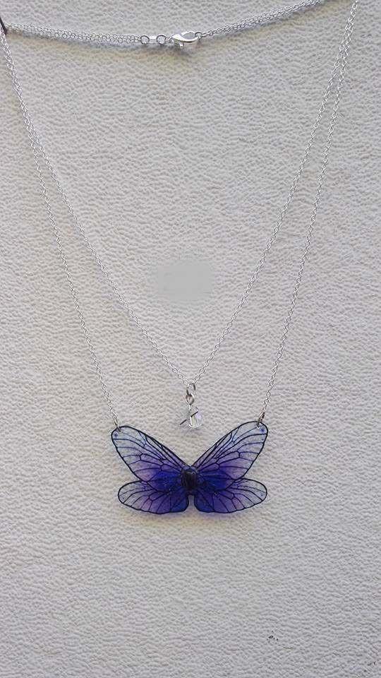 Collier ailes de fées doubles chaîne violet profond et perle en verre breloque étoile