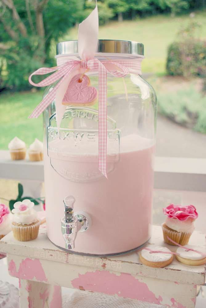 Strawberry milk at a milk and cookies birthday party! See more party planning ideas at CatchMyParty.com!