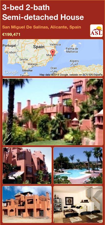 3-bed 2-bath Semi-detached House in San Miguel De Salinas, Alicante, Spain ►€199,471 #PropertyForSaleInSpain