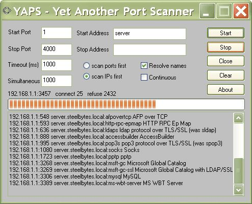 YAPS 32bit 1.2.3.49 (Click image to go to our download page.)     Fast TCP/IP port scanner.  Supports simultaneous connecting to many targets Supports command line and GUI mode Customisable timeout Can scan range of addresses, or single address Can resolve addresses Includes names for well known ports (click image to read more) #software #networking