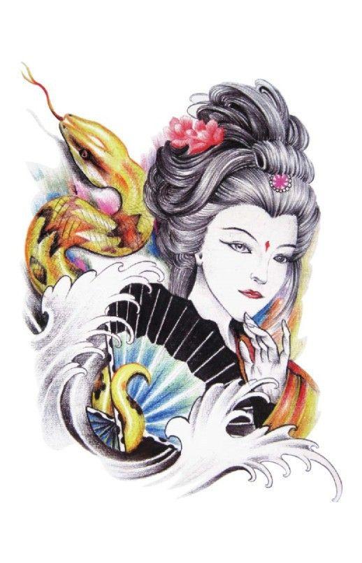 Tradicional Oriental Exótico Sexy Girl beauty Beleza Maquiagem Body Art Tatuagem Temporária Adesivos À Prova D' Água(China (Mainland))