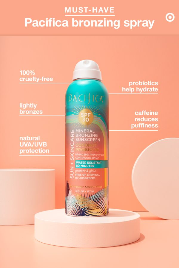 Behold, the sun-and-skin care product that does it all: Tinted Bronzing Continuous Spray from Pacifica. In addition to offering mineral SPF 30 UVA/UVB broad spectrum sun protection, it also gives you a subtle, bronze-y glow (in case your pre-tanned skin is a no glow). Plus, it's made with caffeine, which helps reduce puffiness, and vegan probiotics, known to hydrate, fight acne and treat dry, sensitive skin. Did we mention it's 100% cruelty free? One bottle, so much to love.
