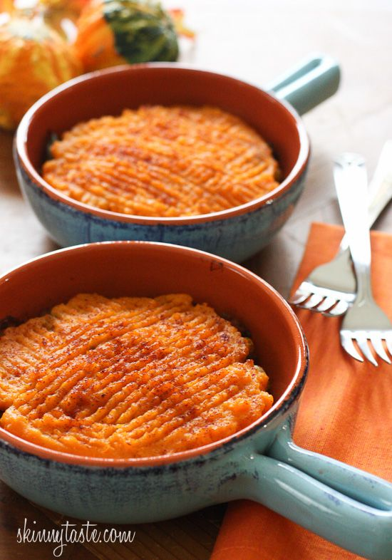 Sweet Potato Turkey Shepherds Pie | Skinnytaste Perfect combination of sweet and savory (leave out corn/peas)